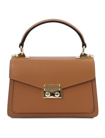 Geanta de dama, din piele naturala coniac, marime mica, Tuscany Leather, TL Bag