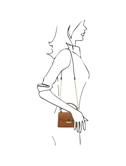 Geanta de mana piele naturala coniac, marime mica, Tuscany Leather, TL Bag
