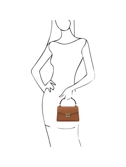 Geanta mana piele naturala coniac, marime mica, Tuscany Leather, TL Bag