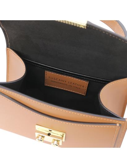 Geanta mana din piele naturala coniac, marime mica, Tuscany Leather, TL Bag