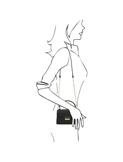 Geanta dama de mana din piele naturala neagra, marime mica, Tuscany Leather, TL Bag