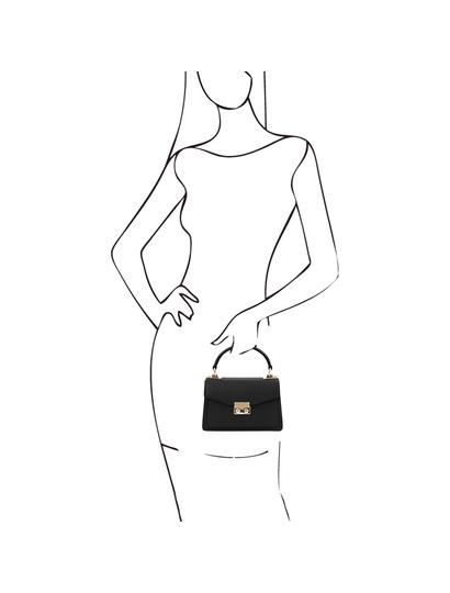 Geanta mana din piele naturala neagra, marime mica, Tuscany Leather, TL Bag