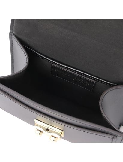 Geanta de mana piele naturala neagra, marime mica, Tuscany Leather, TL Bag