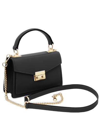 Geanta dama mana din piele naturala neagra, marime mica, Tuscany Leather, TL Bag