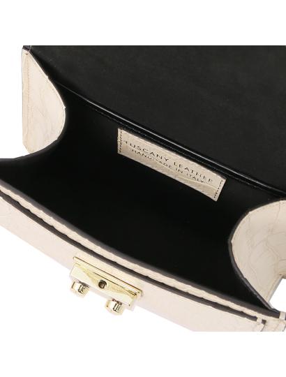 Geanta dama mana, piele naturala bej, marime mica, Tuscany Leather, TL Bag Croc