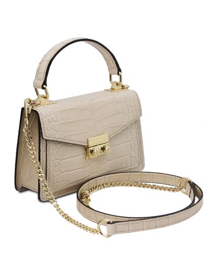 Geanta mana, din piele naturala bej, marime mica, Tuscany Leather, TL Bag Croc