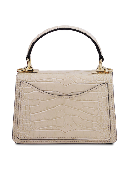 Geanta de mana, din piele naturala bej, marime mica, Tuscany Leather, TL Bag Croc