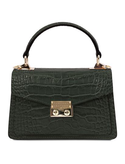 Geanta de dama, piele naturala verde, marime mica, Tuscany Leather, TL Bag Croc