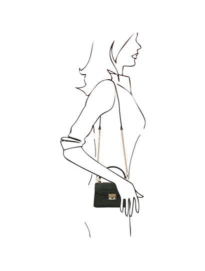 Geanta mana, piele naturala verde, marime mica, Tuscany Leather, TL Bag Croc
