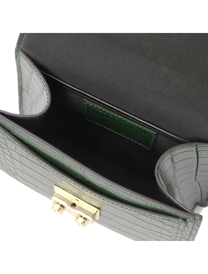 Geanta dama mana, piele naturala verde, marime mica, Tuscany Leather, TL Bag Croc