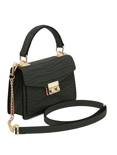Geanta de dama, din piele naturala verde, marime mica, Tuscany Leather, TL Bag Croc