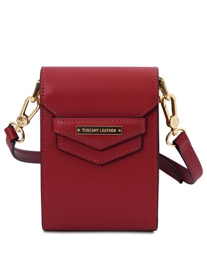 Geanta dama, din piele naturala rosie, Tuscany Leather, TL Bag