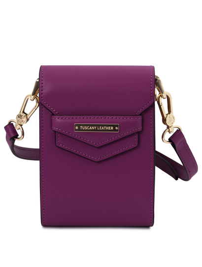 Geanta de dama, din piele naturala violet, Tuscany Leather, TL Bag