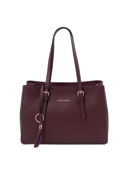 Geanta dama din piele naturala bordo, Tuscany Leather, TL Bag