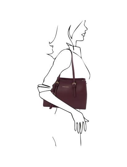 Geanta de dama de umar, piele naturala bordo, Tuscany Leather, TL Bag