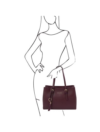 Geanta de umar, piele naturala bordo, Tuscany Leather, TL Bag