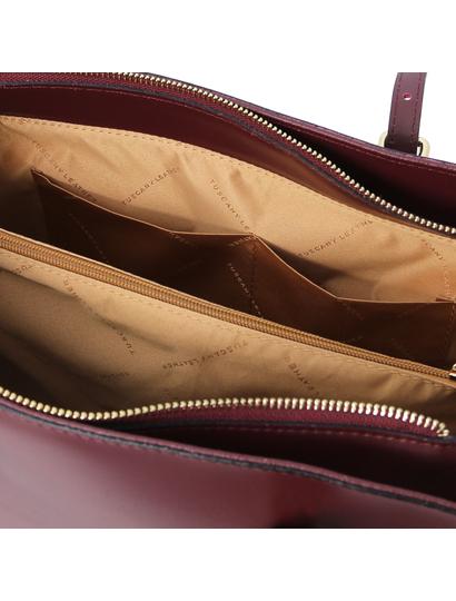 Geanta dama umar, piele naturala bordo, Tuscany Leather, TL Bag