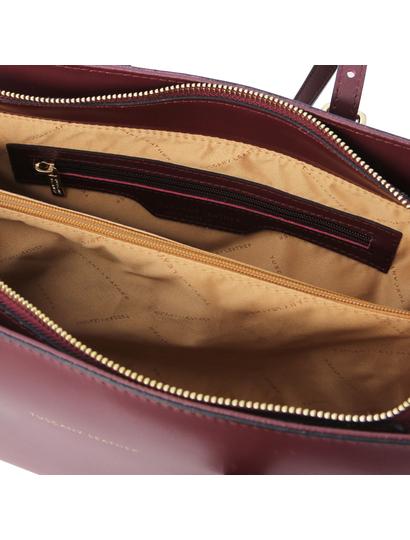 Geanta dama de umar,din piele naturala bordo, Tuscany Leather, TL Bag