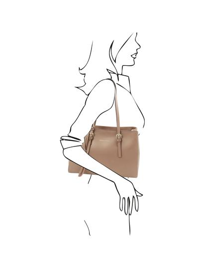 Geanta de umar, din piele naturala sampanie, Tuscany Leather, TL Bag