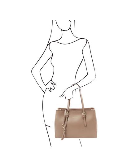 Geanta dama de umar,din piele naturala sampanie, Tuscany Leather, TL Bag