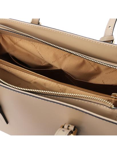 Geanta dama umar, piele naturala sampanie, Tuscany Leather, TL Bag