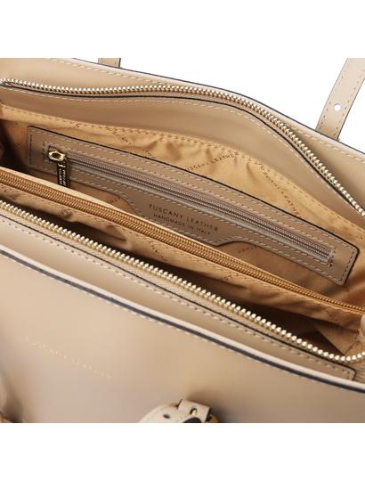 Geanta de umar, piele naturala sampanie, Tuscany Leather, TL Bag