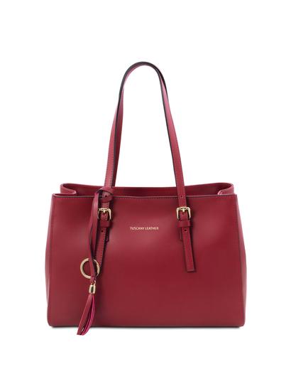 Geanta dama din piele naturala rosie, Tuscany Leather, TL Bag