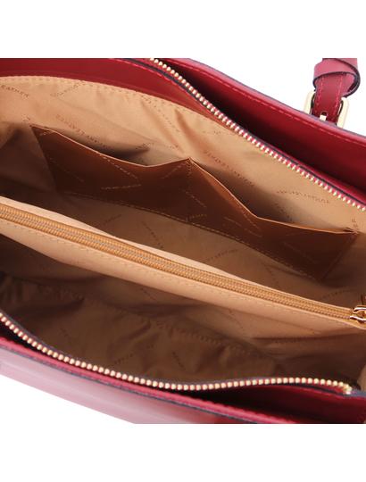 Geanta dama umar, piele naturala rosie, Tuscany Leather, TL Bag