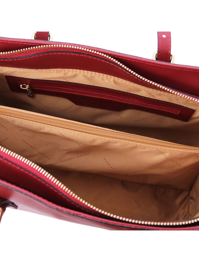 Geanta dama, piele naturala rosie, Tuscany Leather, TL Bag