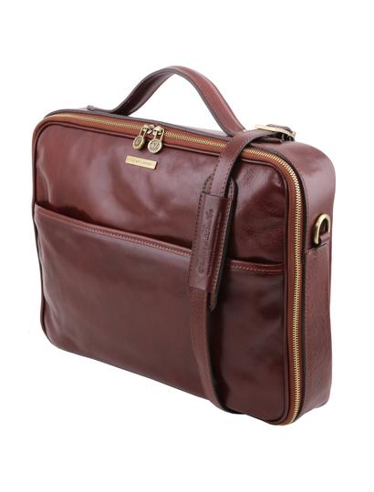 Geanta laptop maro  din piele naturala Tuscany Leather, Vicenza