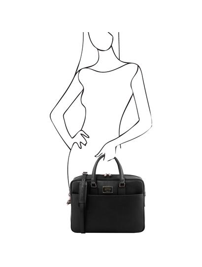 Geanta laptop neagra dama din piele naturala Tuscany Leather, Urbino