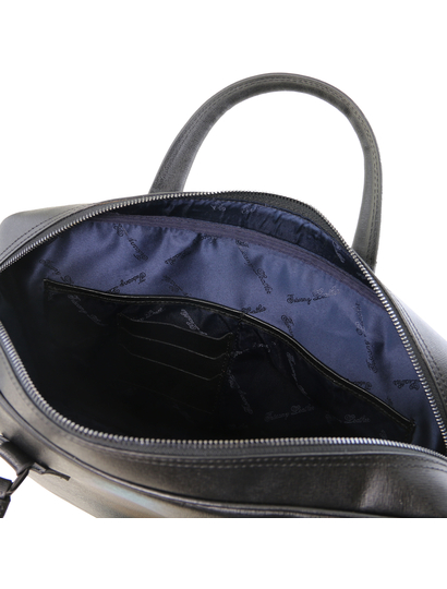 Geanta laptop dama din piele naturala Tuscany Leather, Urbino, neagra