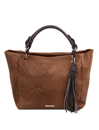 Geanta dama din piele naturala scortisoara, TL Bag Woven