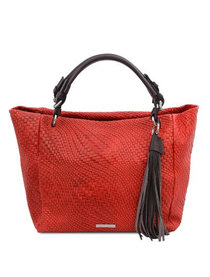 Geanta dama din piele naturala rosu aprins, TL Bag Woven