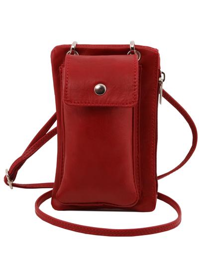 Geanta  Tuscany Leather din piele rosie telefon mini cross