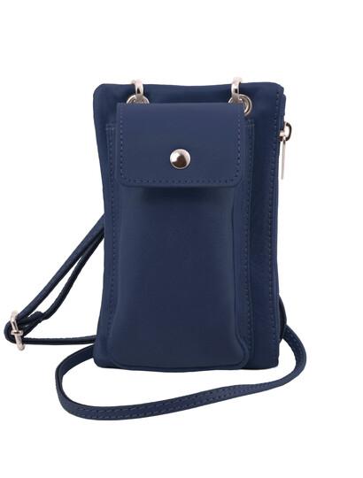 Geanta telefon Tuscany Leather din piele albastra Minicross-S