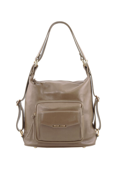 Rucsac dama convertibil in geanta, din piele grej deschis, Tuscany Leather