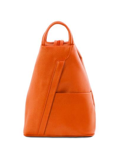 Rucsacel dama din piele naturala Tuscany Leather, portocaliu, Shanghai