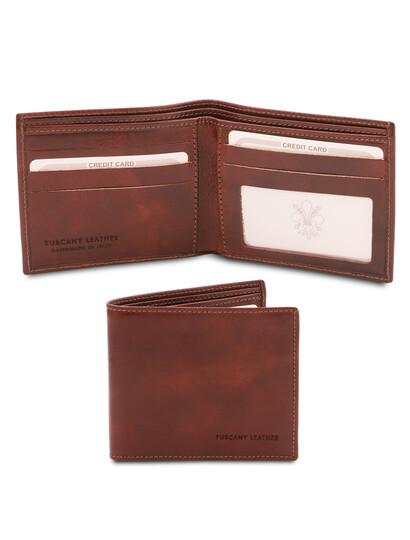 Portofel barbatesc Tuscany Leather, cu doua pliuri din piele maro