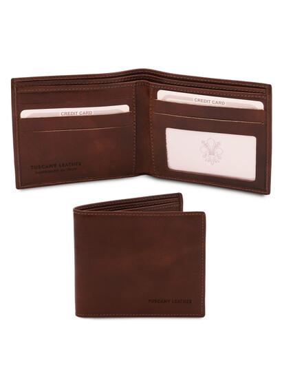 Portofel barbatesc Tuscany Leather, cu doua pliuri din piele maro inchis