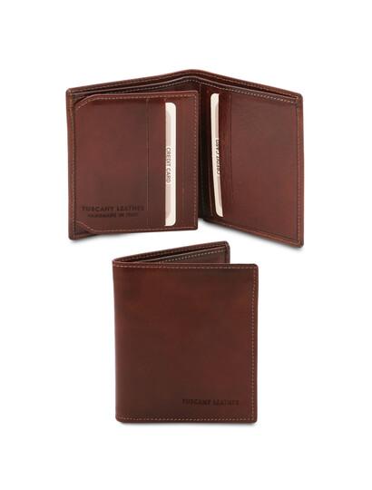 Portofel barbati din piele naturala cu 3 pliuri, Tuscany Leather, maro