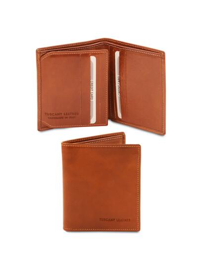 Portofel barbati din piele naturala cu 3 pliuri, Tuscany Leather, honey