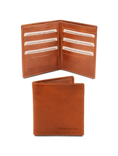 Portofel barbatesc din piele naturala cu doua pliuri honey, Tuscany Leather