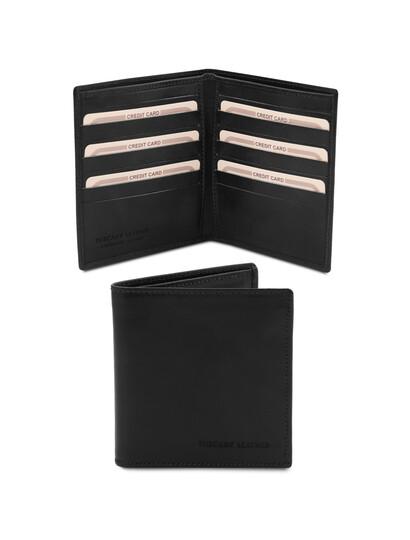 Portofel barbatesc din piele naturala cu doua pliuri negru, Tuscany Leather
