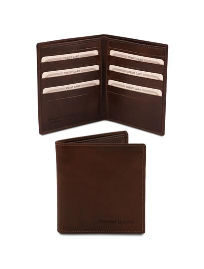 Portofel barbatesc din piele naturala cu doua pliuri maro inchis, Tuscany Leather