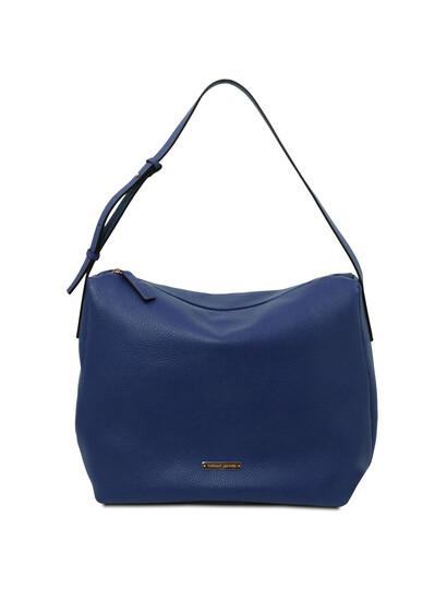 Geanta dama din piele naturala albastru inchis, Tuscany Leather, TL Bag Soft