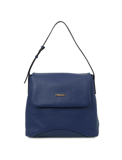 Geanta dama din piele naturala Tuscany Leather, albastru inchis, TL Bag