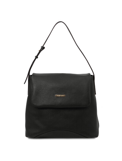 Geanta dama din piele naturala Tuscany Leather, neagra, TL Bag