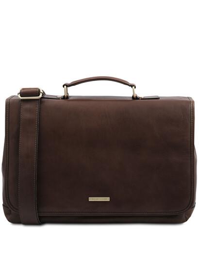 Servieta din piele naturala Tuscany Leather, maro inchis, Mantova TL SMART