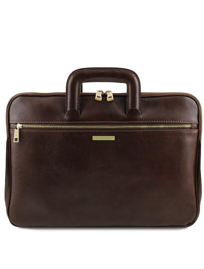Servieta documente din piele naturala maro inchis, Tuscany Leather, Caserta